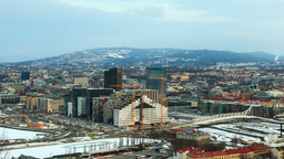 Start working on a construction site cranes. Oslo, Stock Video Footage