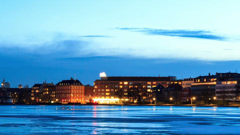 Waterfront views. Copenhagen, Denmark. Time Lapse Stock Video Footage