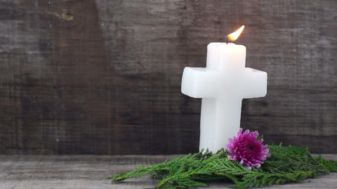 Burning Crucifix Candle Stock Video Footage