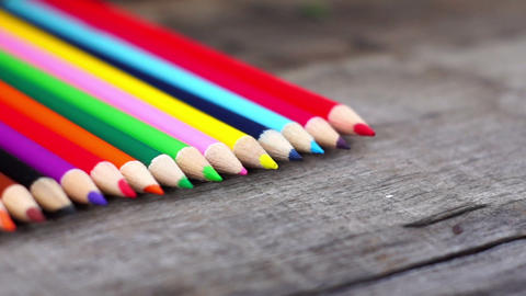 Colorful Wooden Pencil Dolly shot Stock Video Footage