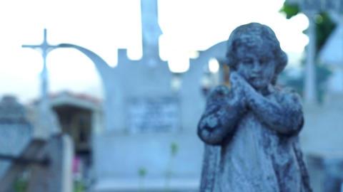 Praying Angel Statue Stock Video Footage