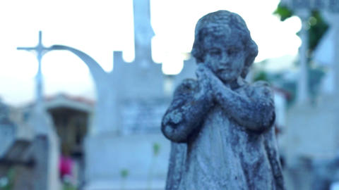 Praying Angel Statue Stock Video Footage