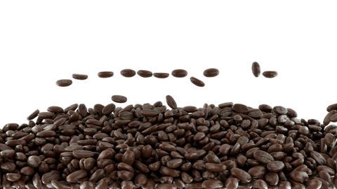 Roasted Coffee beans falling and mixing with slow Stock Video Footage