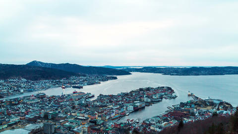 Sunset over the fjords. Bergen, Norway. TimeLapse Footage