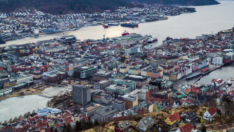 Sunset over Bergen, Norway. TimeLapse Stock Video Footage