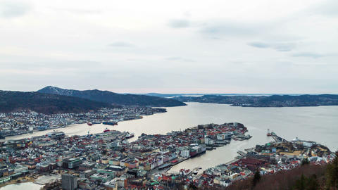 Sunset over the fjords. Bergen, Norway Stock Video Footage