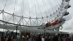 Close up view of London Eye, base of structure, Lo Stock Video Footage