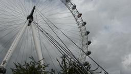 PAN ALONG THE WHEEL OF LONDON EYE, UK. (LONDON EYE Stock Video Footage