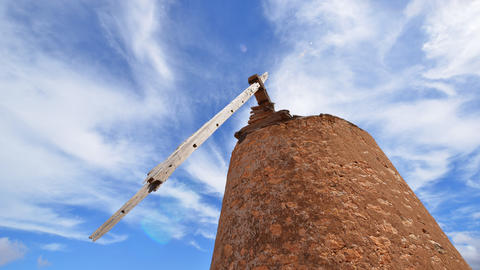 4k UHD old damaged windmill and clouds time 11107 Stock Video Footage