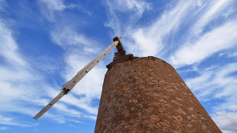 4k UHD old damaged windmill and clouds time 11107 Footage