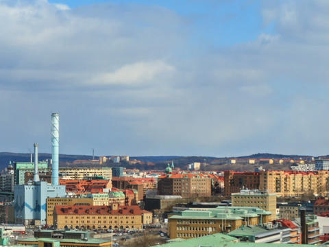 Shadows of clouds borne by city. Gothenburg, Swede Footage