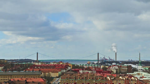 Clouds over the city. Panarama. Gothenburg, Sweden Stock Video Footage