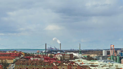 Clouds over the city. Panarama. Gothenburg, Sweden Footage