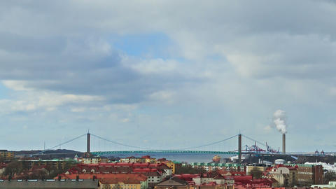 Clouds over the city. Gothenburg, Sweden. Time Lap Stock Video Footage