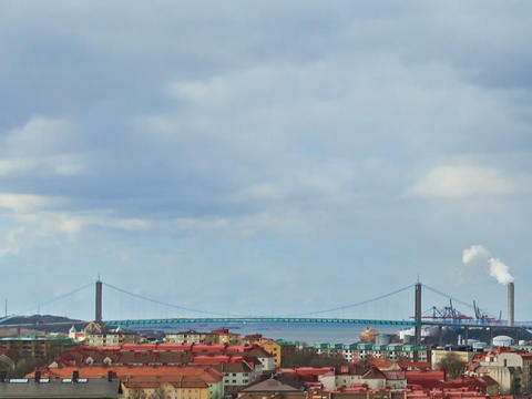 Bridge over the river. Gothenburg, Sweden. Time La Footage