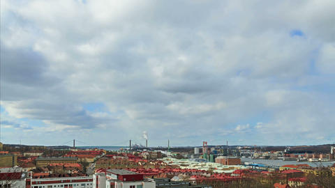 Clouds over the city. Gothenburg, Sweden. Time Lap Footage
