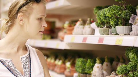 Attractive woman choosing potted plants Stock Video Footage
