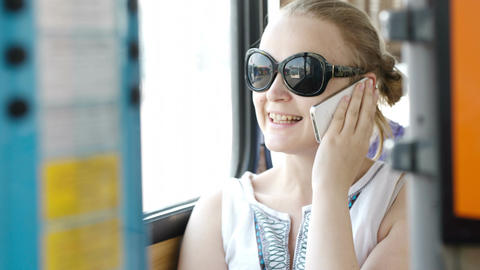 Happy woman talking on her smartphone Stock Video Footage