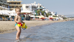 Little boy at a beach resort Stock Video Footage