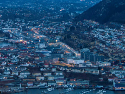 Sunset over the city. Bergen, Norway. Time Lapse Footage