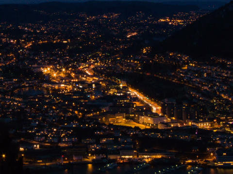 Sunset over the city. Bergen, Norway. Time Lapse Stock Video Footage