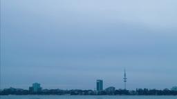 Quay Hamburg. Night fell. Time Lapse Stock Video Footage