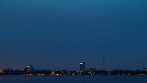 Quay Hamburg. Night fell. Time Lapse Stock Video Footage