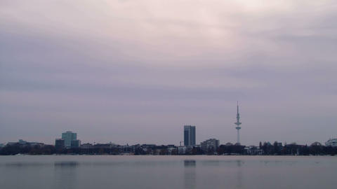 Quay Hamburg. Night fell Stock Video Footage