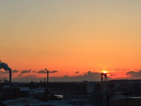 Sunset over the city. Gothenburg, Sweden. Time Lap Stock Video Footage