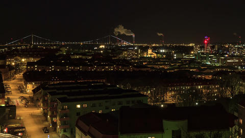 Sunset over the city. Gothenburg, Sweden Stock Video Footage