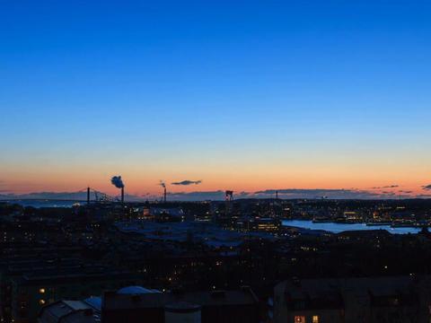 Sunset over the port. Gothenburg, Sweden. Time Lap Footage