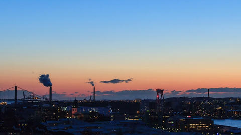 From sunset to the panorama. Gothenburg, Sweden. T Footage