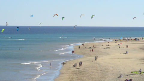 fuerteventura kitesurfers paradise 11114 Stock Video Footage