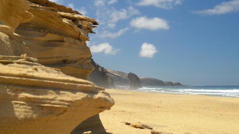 Roque del Morro and sandstone cliff coast wide 111 Stock Video Footage
