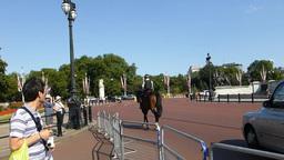 Police on horse heading towards Buckingham Palace Stock Video Footage