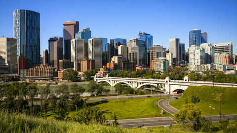 Calgary Skyline Time Lapse Stock Video Footage