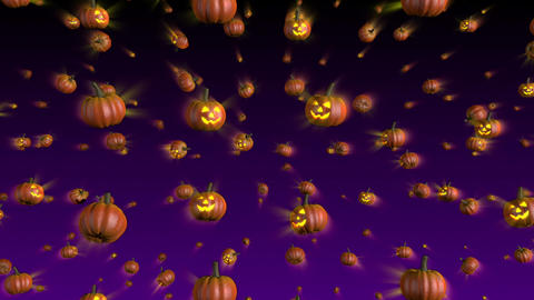 Halloween Pumpkins Falling Background Stock Video Footage