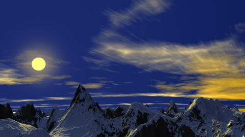 Sunset over tops of mountains Animation