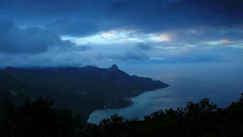 Timelapse sunrise in the mountains bay Laspi. Crim Stock Video Footage