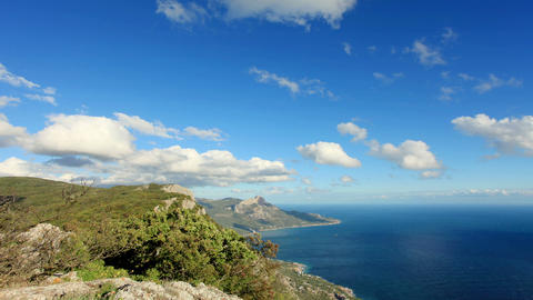 Movement of the clouds on the mountain bay Laspi Stock Video Footage