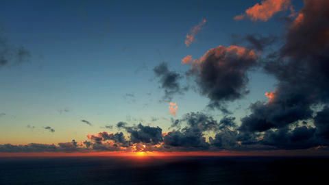 Timelapse sunset on the sea. Earthquake. FULL HD Footage