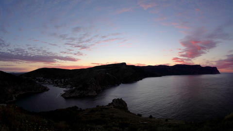 Timelapse sunrise in the mountains. Balaklava, Cri Stock Video Footage