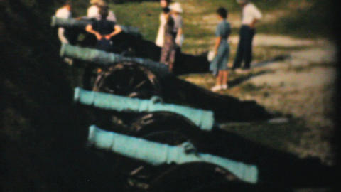 Old Cannons At Yorktown Fort 1940 Vintage 8mm film Stock Video Footage