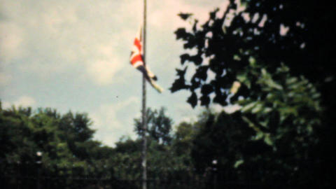Old Union Jack Flag Flying Proudly 1940 Vintage Stock Video Footage