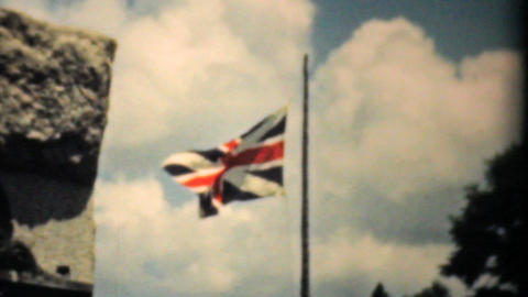 Old Union Jack Flag Flying Proudly 1940 Vintage stock footage