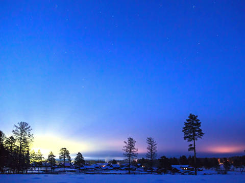 Dawn in the village. Time Lapse. 4x3 Stock Video Footage