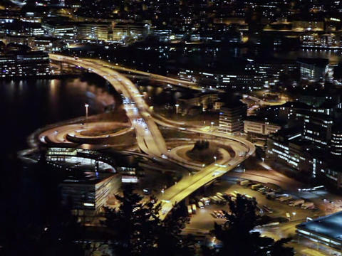 View of the ring road. Night, Bergen, Norway Footage