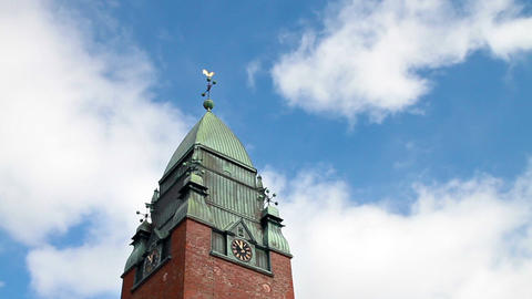 Clouds float above the clock tower. Goteborg, Swed Stock Video Footage