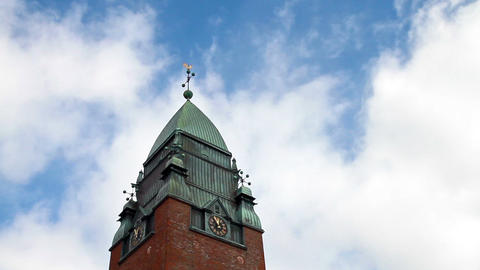Clouds float above the clock tower. Goteborg, Swed Footage