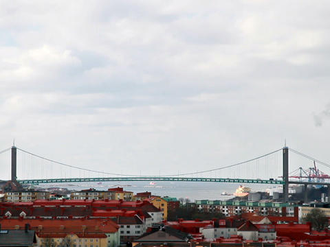 Road bridge over the river. Goteborg, Sweden Stock Video Footage